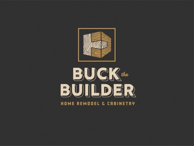 Buck the Builder brand identity branding design company branding carpentry cabinets handmade lockup badge grain joinery pine joints wood construction company logo construction company design branding