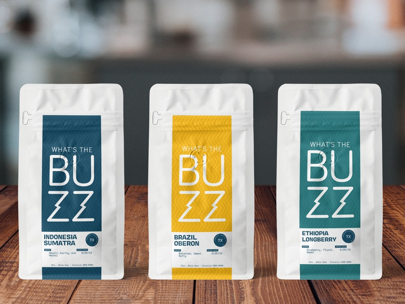 What's The Buzz Coffee #3 buzz coffee on table coffee shop artboard mockup bag coffee logo illustration branding wavy brazil