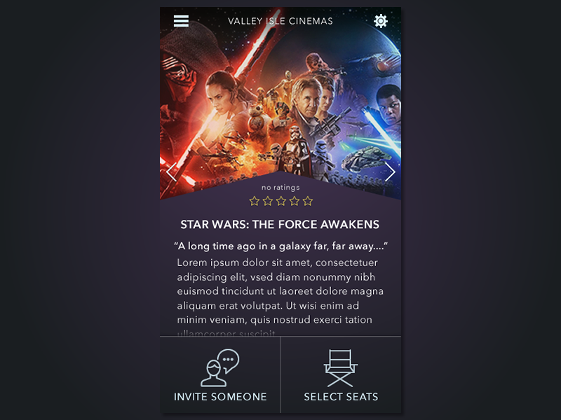 Movie App (WIP) theater starwars fireworks uiux dark app movie