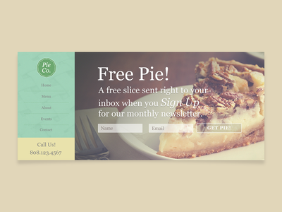 Free Pie! resturaunt food small business pie baking call to action marketing web design