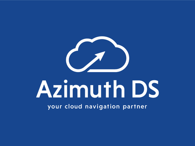 Logo Azimuth DS corporate blue branding illustrator startup navigation cloud flat design logo