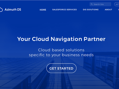 Azimuth DS Home Page Mocks blue cloud corporate website webdesign
