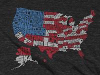 USA Flag Map T-shirt
