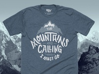 The Mountains Are Calling T-shirt - Cool Gray