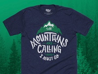 The Mountains Are Calling T-shirt - Navy/Forest Green