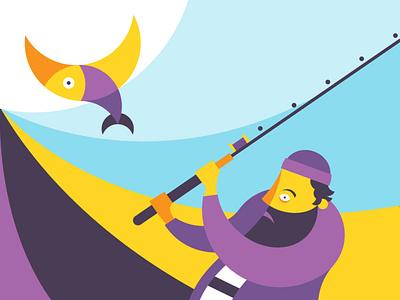 The Wrecks illustration character beard sea boat fish fishman