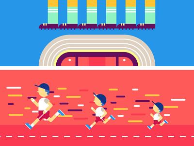 En La Cancha futball running illustration