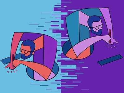 Selfportrait outline flat vector design procreate ipad character illustration selfportrait