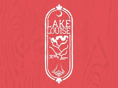 Lake Louise night sticker illustration canoe camping nature canada