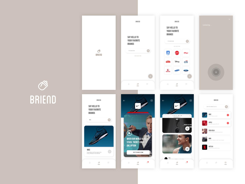 Hello Briend Mobile App ux sketch concept ui startup logo illustration branding