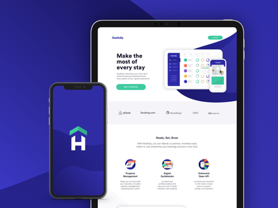 Hostfully Branding isometric web vector illustration typography icon logo app design startup design branding ux ui