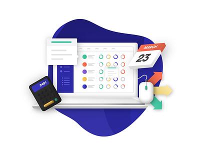 Hostfully Illustration concept design flat website typography ux ui vector isometric icon app design startup sketch illustration branding