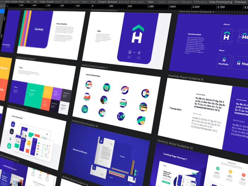 Hostfully Brand Guidebook design sketch website web typography isometric icon logo app design startup illustration branding ux ui