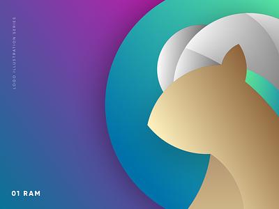 Carneros Logo Icon startup logo startup branding concept gradient colorful icon branding illustration deer ram animal illustration