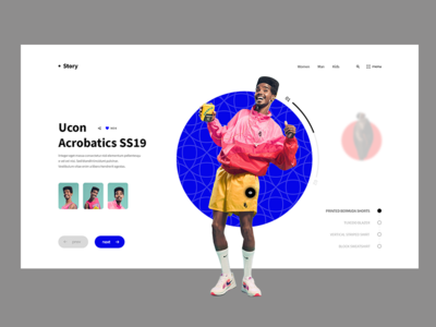 Story tranding yellow pink man shop nike blue web ux ui