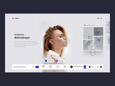 Zero portfilio user profile zero typography white blue black design web ux ui