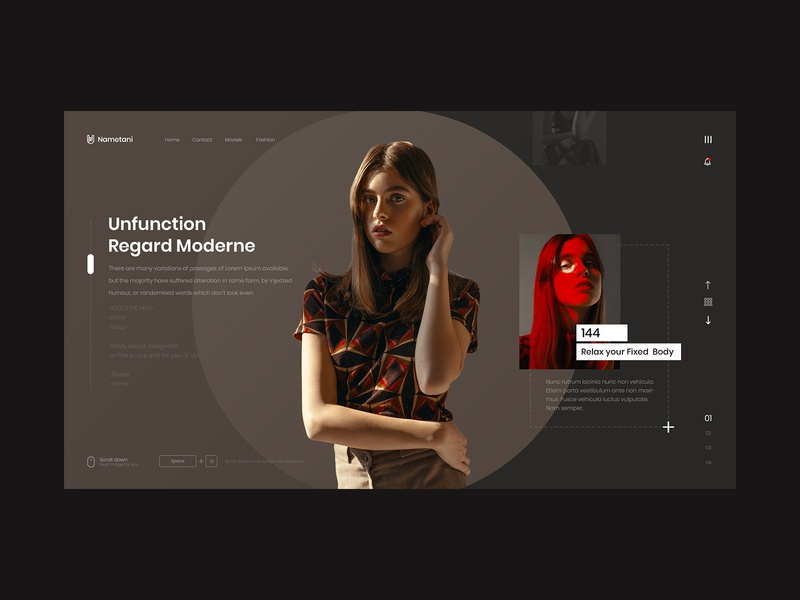 Nametani girl news feed scroll typography logo fashion white black design ux web ui