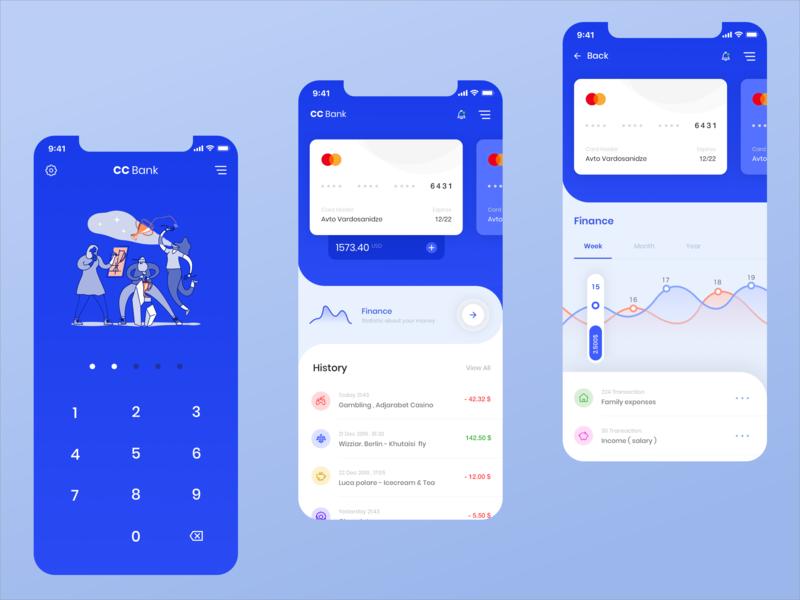 CC Bank App card app mobile finance bank account bank card bank app online bank white blue design ux ui