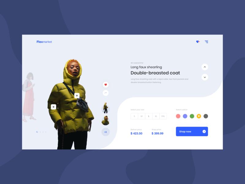 Flexmarket e-commerce slider add landing page shop fashion white blue girl web design ux ui