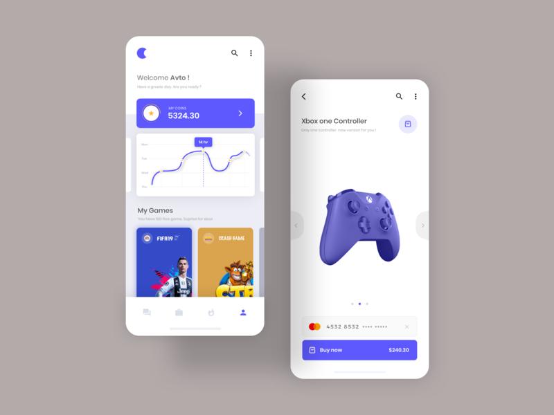 Gaming platform app cart buy controllers xbox crash fifa coins statistics game gaming application design ux ui