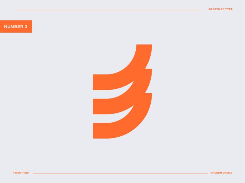 36 days of type: Number 3 concept logodesigner logo design number 3 logo 3 identity mark brand designer branding design logo