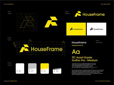HouseFrame - Brand Identity color logodesigner identity brand branding designer design logo timberframe builders construction woodworking energyefficient houseframe