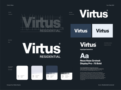 Virtus - Brand identity design houses apartment branding design designer graphic identity branding los angeles rent construction housing commercial residential brand design brand identity brand