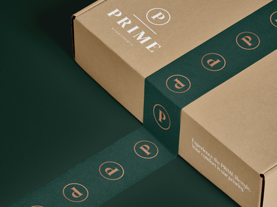 Prime Apartments - Welcome Gift logo identity brand designer branding box gift box welcome gift packagingdesign packaging logo design real estate logo real estate apartments gift