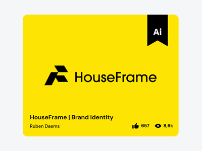 HouseFrame | Brand Identity - Behance feature illustrator feature illustrator construction house logo design behance feature feature
