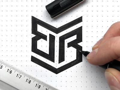 Double B Logo Sketch paper dotted identity branding brand illustrator sketch mark design logo