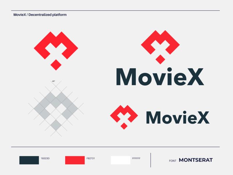 MovieX - Logo Design grid typography vector negativespace minimal logodesigner designing color identity designer mark graphic brand platform decentralized watch movie moviex design logo