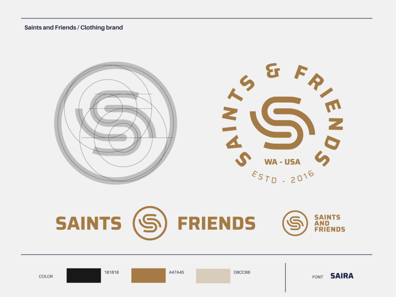 Saints and Friends - Clothing Brand futuristic pentecostal digital media designer color scheme horizontal emblem lockup grid brand logo branding design logo designer saints friends friend saint church logo mark