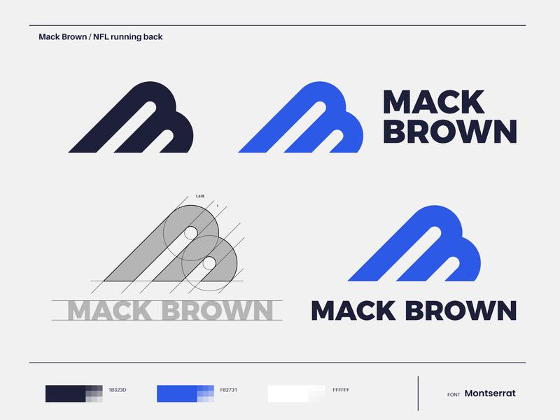 Mack Brown - Logo Design designing graphic illustrator vector logodesigner montserrat font color identity designer running back american american football mack brown mark design logo pro nfl player nfl