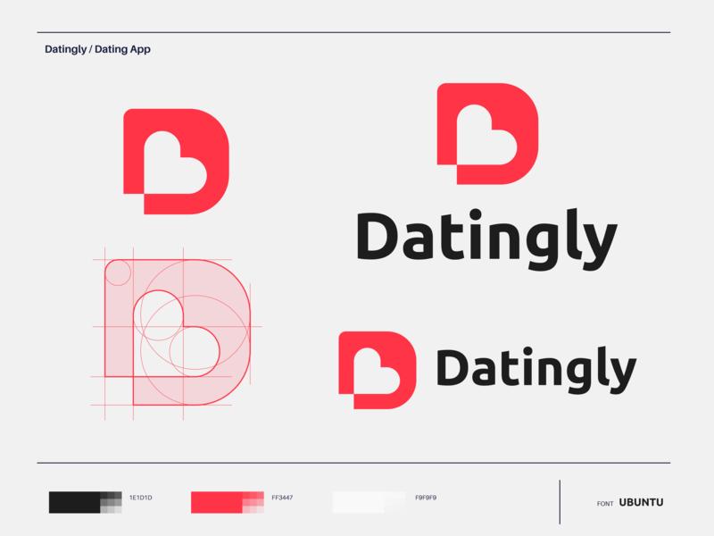 Datingly - Logo design designing concept identity designer mark vector color palette scheme color system grid branding design logo application app datingapp dating datingly