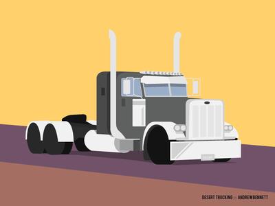 Desert Trucking desert semi truck art direction illustration