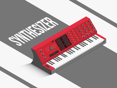 Isometric Synthesizer clean red illustration poster music synthesizer isometric