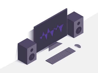 Audio Editing Scene speaker computer illustration desk purple dark audio music isometric
