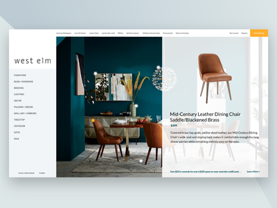 West Elm Home Redesign Sprint clean modern modal lato blue layout redesign website