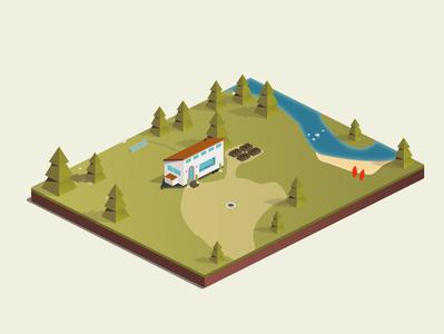 My American Dream illustration camp tinyhouse tiny isometric
