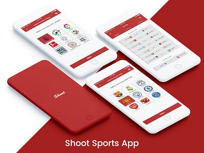 Shoot Sports App minimal ui shoot app ios football