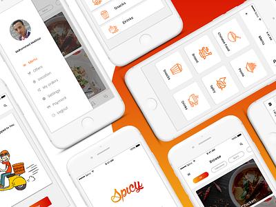 Spicy food delivery app ios ui clean minimal delivery app food spicy