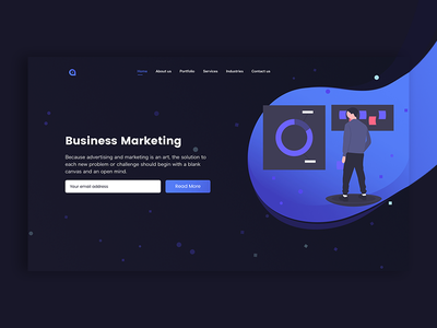 Business Marketing Landpage clean dark app website marketing agency ui design illustration ux landing app