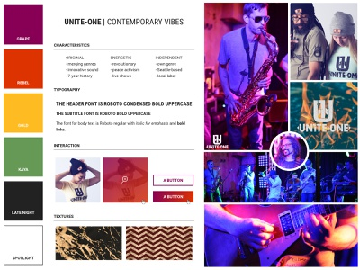 Unite-One - Styleboard Outtake musicians band styleboard style guide style visual identity brand identity branding branding design web design visual design