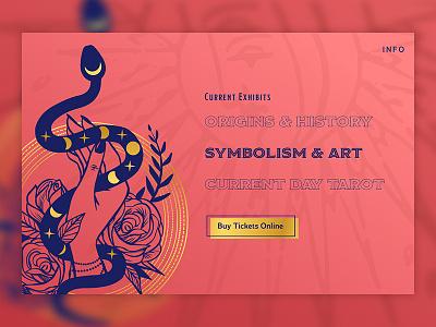 The Museum of Tarot - Symbolism & Art Exhibit Feature wip work in progress ink drawing illustration art museum gold metaphysical tarot web design dailyui