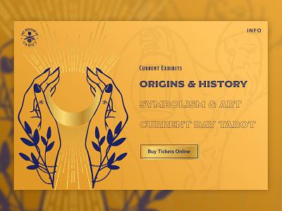 The Museum of Tarot - Origins & History Feature cta tarot website sketch hover minimal vector illustration logo dailyui gold typography metaphysical branding web design daily ui