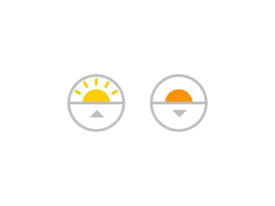 Hi sun, bye sun sunrise sunset icon circle sun