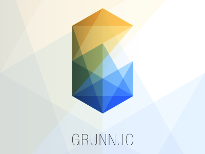 logo for Grunn.io grunnio logo colour shapes abstract orange green blue helvetica