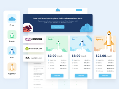 Media Cloud 2020 illustraion icon card pricing price block uidesign ui