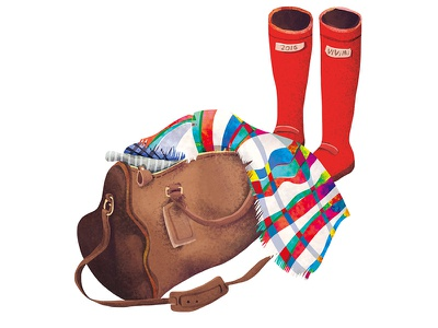 travel red shoes knapsack travel illustration