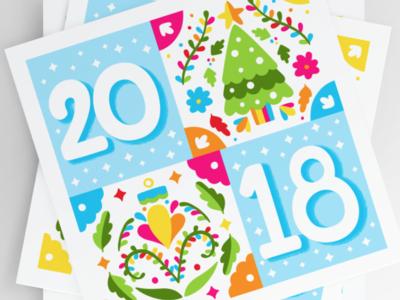 2018 Holiday Postcards colorful postcard lettering original christmas vector illustration otomi bright illustration vector holiday personal